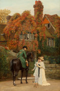 Fine Art - Painting, European:Other , Arthur Longley Vernon (British, 1841-1941). The messenger (Theheiress). Oil on canvas. 36-1/4 x 24 inches (92.1 x 61.0 ...