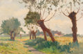 Fine Art - Painting, European:Other , Victor Alfred Paul Vignon (French, 1847-1909). Pollarded treesin a summer landscape. Oil on panel. 10-1/2 x 15-1/4 inch...