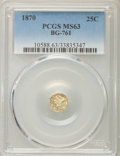 California Fractional Gold , 1870 25C Liberty Head Octagonal 25 Cents, BG-761, R.4, MS63 PCGS.PCGS Population (10/4). ...