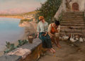 Fine Art - Painting, European:Other , Fabio Cipolla (Italian, 1854-1914). An amorous interlude.Oil on canvas. 22 x 33 inches (55.9 x 83.8 cm). Signed lower r...