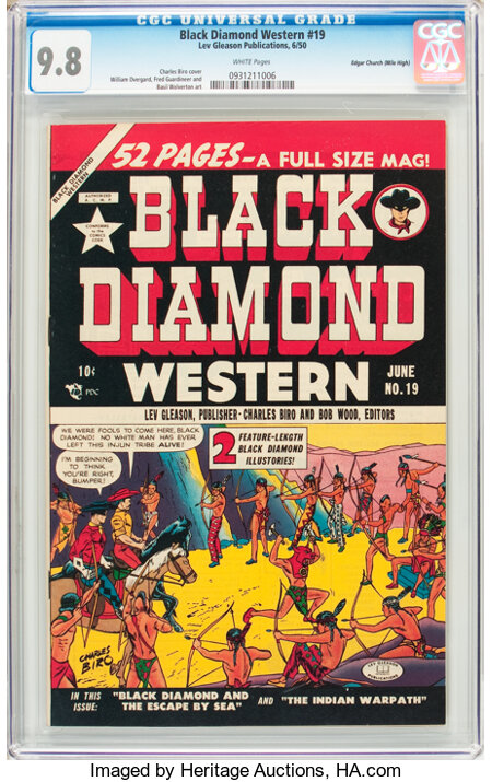 Black Diamond Western #19 Mile High Pedigree (Lev Gleason, 1950) CGC NM/MT 9.8 White pages....