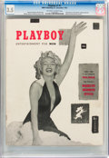 Magazines:Miscellaneous, Playboy #1 Newsstand Edition (HMH Publishing, 1953) CGC VG- 3.5Off-white to white pages....