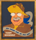 Political:3D & Other Display (1896-present), Theodore Roosevelt: Die-Cut Rough Rider Hat Advertisement....