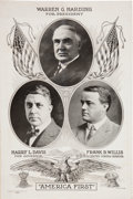 Political:Posters & Broadsides (1896-present), Warren G. Harding: Rare 1920 Trigate Poster from his Home State ofOhio....