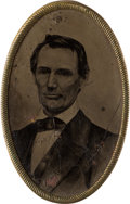 Political:Ferrotypes / Photo Badges (pre-1896), Abraham Lincoln: Rare Large Oval Ferrotype....