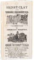 """Political:Ribbons & Badges, Henry Clay: Great """"Union Without Texas"""" Ribbon...."""
