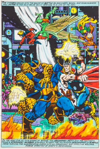 """Jim Starlin and Joe Rubinstein Marvel Two-In-One Annual #2 """"Death Watch!"""" Page 35 Hand-Painted Color Guide (Ma..."""