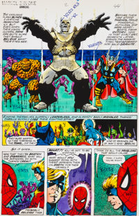Jim Starlin and Joe Rubinstein Marvel Two-In-One Annual #2 Page 44 Hand-Painted Color Guide (Marvel, 1977)