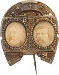 Political:Ferrotypes / Photo Badges (pre-1896), Blaine & Logan: Cardboard Jugate....