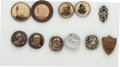 Political:Ferrotypes / Photo Badges (pre-1896), Grover Cleveland: Studs and Stickpin.... (Total: 11 Items)
