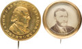 Political:Ferrotypes / Photo Badges (pre-1896), Ulysses S. Grant and Horace Greeley: Two Badges.... (Total: 2Items)