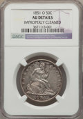 Seated Half Dollars: , 1851-O 50C -- Improperly Cleaned -- NGC Details. AU. NGC Census: (0/37). PCGS Population (5/75). Mintage: 402,000. Numismed...