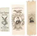 Political:Ribbons & Badges, William Henry and Benjamin Harrison: Three Silk Ribbons.... (Total: 3 Items)