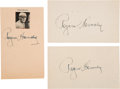 Baseball Collectibles:Photos, 1950's Rogers Hornsby Signed Parchment Lot of 3. ...