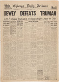 "Political:Small Paper (1896-present), Harry S Truman: Infamous ""Dewey Defeats Truman"" Newspaper...."