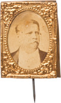 Political:Ferrotypes / Photo Badges (pre-1896), Winfield S. Hancock: Gem Albumen Stickpin....