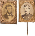 Political:Ferrotypes / Photo Badges (pre-1896), Abraham Lincoln and George McClellan: Gem Albumen Badges....(Total: 2 Items)