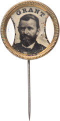 Political:Ferrotypes / Photo Badges (pre-1896), Ulysses S. Grant: Ferrotype Stickpin....