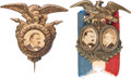 Political:Ferrotypes / Photo Badges (pre-1896), Cleveland & Hendricks: Cardboard Jugate and More.... (Total: 2Items)