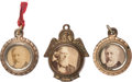Political:Ferrotypes / Photo Badges (pre-1896), Grover Cleveland and James G. Blaine: Cardboard Photo Watch FobCharms.... (Total: 3 Items)