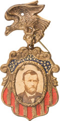 Political:Ferrotypes / Photo Badges (pre-1896), Ulysses S. Grant: Fancy Cardboard Badge....
