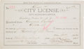 """Miscellaneous:Ephemera, Virgil Earp and Tombstone Madam Emma Parker: Her September 14,1881, City License for a """"House of Ill Fame,"""" Signed by Virgil ..."""