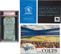 """Football Collectibles:Programs, 1958 NFL Championship Game Colts vs. Giants Program, Full Press Pass and Testimonial Banquet Programs - """"Greatest Game Ever Pl..."""