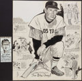 Baseball Collectibles:Others, Ted Williams Original Cartoon Artwork Lot of 2 (1 Signed byWilliams). ...