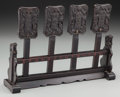 Asian:Chinese, Four Chinese Carved Rosewood Temple Tablets with Stand, dated thenineteenth year of Guangxu reign, corresponding to 1893. 8...