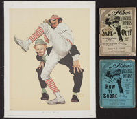 """1925 """"Fischer's Baseball Decisions"""" Booklet Lot of 2 With Norman Rockwell Print"""