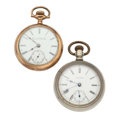 Timepieces:Pocket (post 1900), Waltham & Elgin 18 Size Open Face Pocket Watches. ... (Total: 2Items)