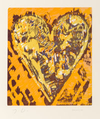 Jim Dine (b. 1935) Heart for Film (set of two), 1993 Woodcut in colors on Mohawk Superfin