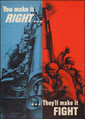 "Movie Posters:War, World War II Propaganda (U.S. Government Printing Office, 1942).War Production Poster (28.25"" X 40"") ""You Make It Right...T..."