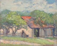 Clara Pancoast (American, 1872-1959) House Among Trees Oil on canvas laid on board 12 x 14 inches