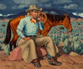 Fine Art - Painting, American:Contemporary   (1950 to present)  , Fred Darge (American, 1900-1978). Resting. Oil oncanvasboard. 22 x 26 inches (55.9 x 66.0 cm). Signed lower right:F....