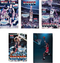 Basketball Collectibles:Photos, 1992 USA Basketball Dream Team Signed Illustration Board PostersLot of 5 - Fischer Collection. ...