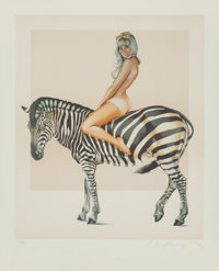 Mel Ramos (American, b. 1935) Zebra, 1981 Lithograph in colors on wove paper 25-1/4 x 20-1/2 inch