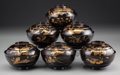 Asian:Japanese, A Set of Six Japanese Lacquered Covered Tea Bowls, early 20thcentury. 4-5/8 inches diameter (11.7 cm). Provenance: Ethry ...(Total: 6 Items)