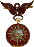 Timepieces:Pocket (pre 1900) , Enamel 18k Gold & Diamond Pendant Watch With 14k Lapel Pin. ...
