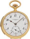 Timepieces:Pocket (post 1900), Stammelbach Swiss 18k Gold Minute Repeating Pocket Watch. ...