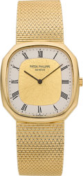 Timepieces:Wristwatch, Patek Philippe 18k Gold Ref. 3855/1 Cushion-Form Bracelet Watch....