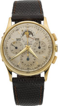 Timepieces:Wristwatch, Universal Geneve Gold Tri-Compax Chronograph With Calendar &Moon Phase, circa 1949. ...