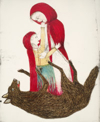 Kiki Smith (b. 1954) Born, 2002 Lithograph in colors on Saunders Watercolor HP from St. Cuthberts Mi