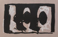 Prints, Robert Motherwell (1915-1991). Elegy Study I, 1989. Lithograph in colors on light brown TGL handmade paper. 39 x 61 inch...