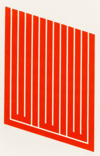 Donald Judd (1928-1994) Untitled, 1961-69 Woodcut in cadmium red 25 x 16 inches (63.5 x 40.6 cm)