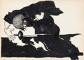 Original Comic Art:Sketches, Virgil Finlay - Wounded Swordsman Sketchbook Illustration Original Art (1935)....