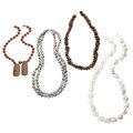 Estate Jewelry:Necklaces, Multi-Stone, Freshwater Cultured Pearl, Gold, Sterling Silver Necklaces. ... (Total: 4 Items)