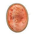 Estate Jewelry:Brooches - Pins, Coral, Gold Brooch. ...