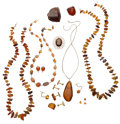 Estate Jewelry:Lots, Amber, Yellow Metal Jewelry. ... (Total: 3 Items)