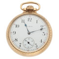 Timepieces:Pocket (post 1900), Elgin 21 Jewel Father Time Open Face Pocket Watch. ...